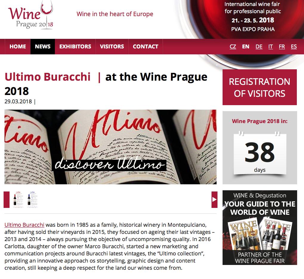 Il nostro Ultimo tra le novità di Wine Prague, la fiera internazionale dedicata al vino ed alla sommellerie dal 21 al 23 Maggio 2018 a Praga, Repubblica Ceca.