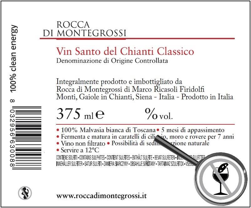 """L'etichetta """"incriminata"""" del Vin Santo di Rocca di Montegrossi col divieto d'inzuppo del Cantuccino"""